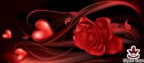 фототапет панел с красива роза и сърце в червено