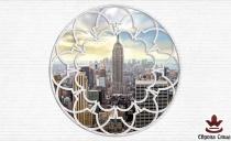 фототапет тухлена стена със сфера с изглед на Ню Йорк